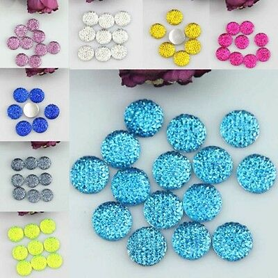 50pcs Flat Back Round Dotted Resin Cabochon Clay Rhinestone DIY Beads 10/12mm