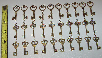 gold silver bronze wedding keys 90 New old look antique vintage skeleton charms