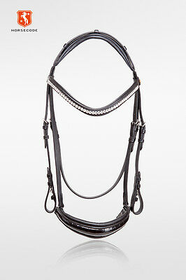 HORSECODE Trense White Shine H WB,Strass,hannoversches Reithalfter,Lack,Kroko