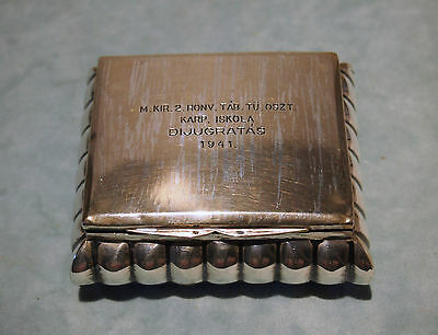 Vienna Sterling Box Circa 1940 Signed And Dated - Fine Hand Chased Design