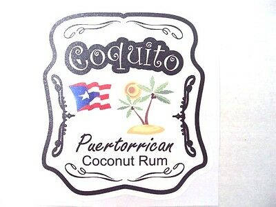 Puerto Rico Coquito Rum Decal Sticker great for decorate coquito bottle