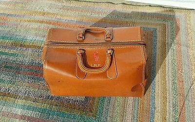 Vintage Antique Leather Medical Doctors Dentist Bag Travel Case Apothecary