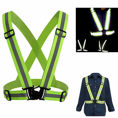 Adjustable Cycling Reflective Safety Vest Sports Bike Motorcycle Running Harness