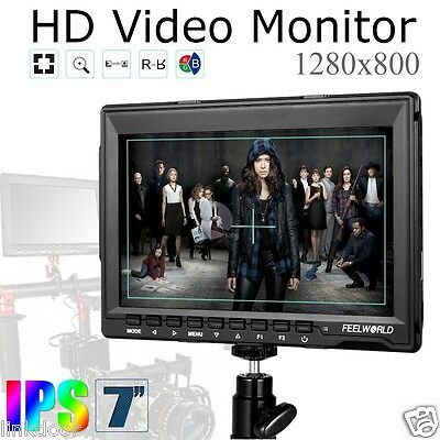 US Feelworld FW759 IPS 7'' HD 1280*800 Camera Field Monitor DSLR HDMI 1080P