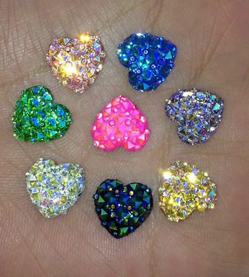 50X DIY Colorful Resin Heart Bling Flatback Scrapbook Decor for Phone/Wedding