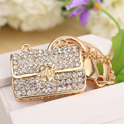 Crystal Rhinestone Handbag Keyring Charm Pendant Purse Bag Key Ring Chain Gift