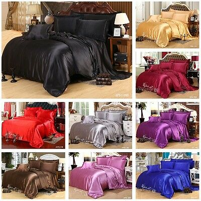 Satin Quilt Duvet Doona Cover Set Queen King Size Bed Solid Color Pillow Cases