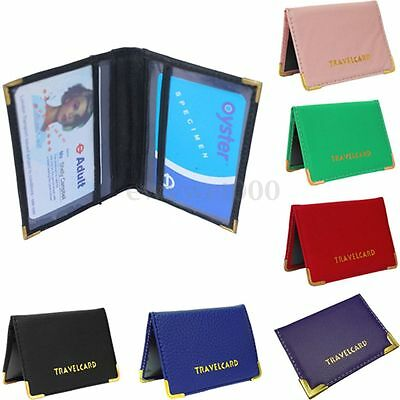 Multi-Color Leather Travel Bus Pass Holder Rail Card Case Cover Bag Slim Wallet