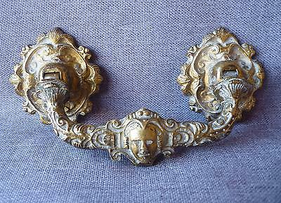 Antique door handle 19th century France made of bronze Napoleon III face carved