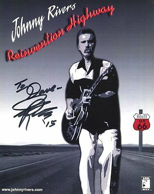 JOHNNY RIVERS HAND SIGNED 8x10 PHOTO+COA      AWESOME MUSICIAN     TO DAVE