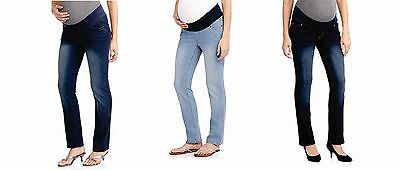 Oh! Mamma Maternity Demi-Panel Straight Leg Jeans - Choose Size/Wash - C10K