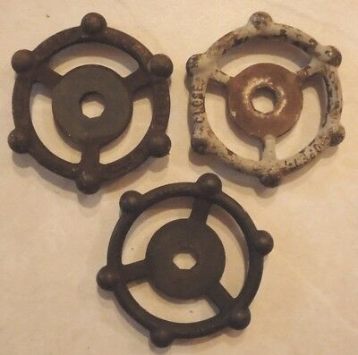 (3) Vintage  Oil Refinery Cast Iron Water Valve Handles Steampunk Lot #24