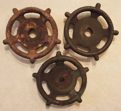 (3) Vintage  Oil Refinery Cast Iron Water Valve Handles Steampunk Lot #25