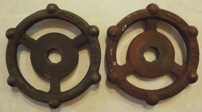 (2) Vintage  Oil Refinery Cast Iron Water Valve Handles Steampunk Lot #26