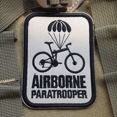 Airborne Paratrooper Bike MILSPEC MORALE TACTICAL MILITARY BADGE PATCH