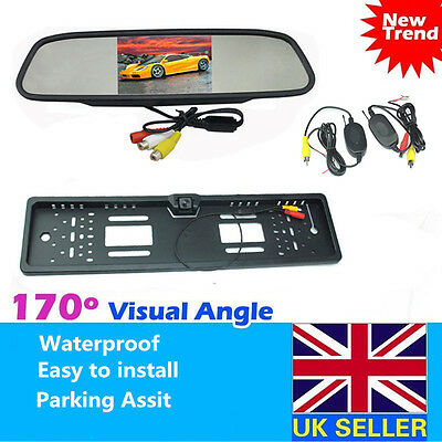 "Car Rear View Reversing Kit 4.3"" LCD Mirror Monitor+170° Wireless Reverse Camera"