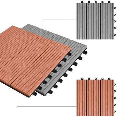 NEW Wood Plastic Composite Tiles 30 x 30 cm 11pcs 1m2 Brown/Grey Selectable