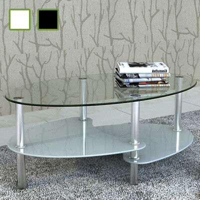 NEW Exclusive Coffee Table 3-layer Design Black/White Tempered Glass Metal Frame
