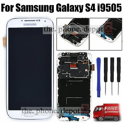 White LCD Display Digitizer & Touch Screen & Frame For Samsung Galaxy S4 i9505