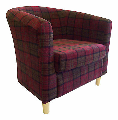 Tub Chair in Lana Tartan Fabric ** 7 colours available** Free Delivery