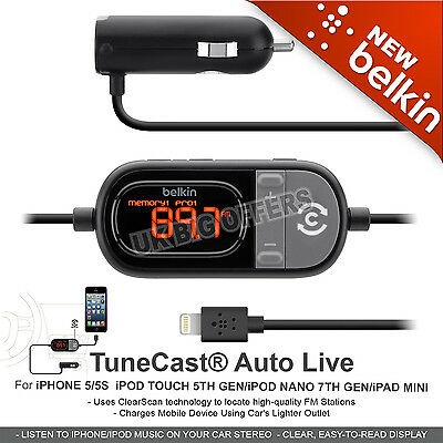 Belkin in Car Tunecast Auto Live FM Transmitterfor iPhone 6 6s 6 Plus 55s 5c NEW