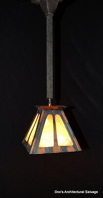 Original Antique 1920s Arts & Crafts Oxodized Copper Slag Glass Light Fixture