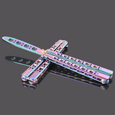1X Rainbow Practice BALISONG Butterfly Steel Trainer Dull Knife Tool With Sheath
