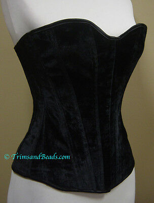 S Renaissance Costume Steel Boned Black Velvet Corset W/Privacy Panel