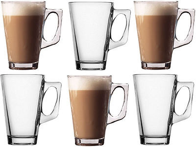 Latte Glasses 240ml Tea Coffee Cappuccino Hot Chocolate Glass Cups Mugs spoons