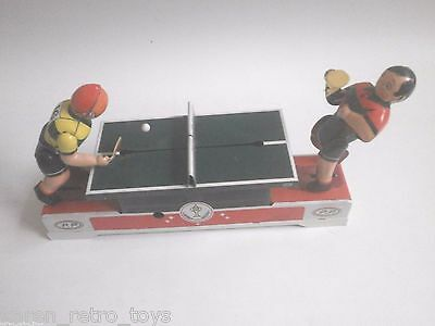 Tin Toy Mechanical Ping Pong Match Classic Wind Up