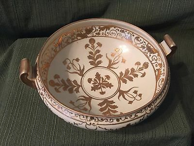 Vintage Bowl Gold Handpainted Trim And Design