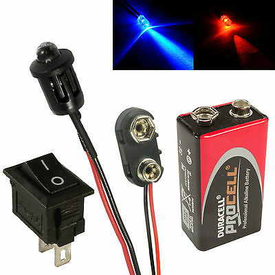 Alternating Red & Blue Car Dummy Fake Alarm LED + PP3 Connector Battery + Switch