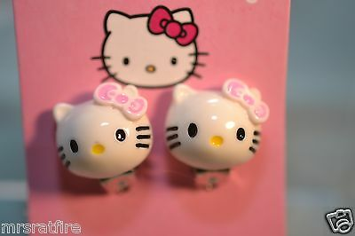 Hello Kitty Earrings, Magnetic,  Clips, Resin Face, NEW in PKG, USA Fast!