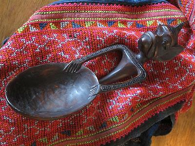 Old Javanese Carved Wooden Spoon…  with lovely Patina & detail...