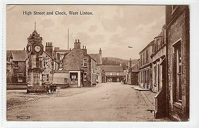 HIGH STREET AND CLOCK, WEST LINTON: Peeblesshire postcard (C14106)