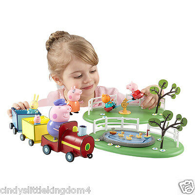Peppa Pig Fun In the Park with  5 figures train seesaw pond toy playset toy 3+