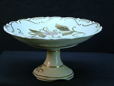 Stunning Petite Porcelain Compote; Hand Painted Roses; Gold Gilt Trim