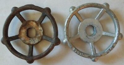 (2) Vintage  Oil Refinery Cast Iron Water Valve Handles Steampunk Lot #44