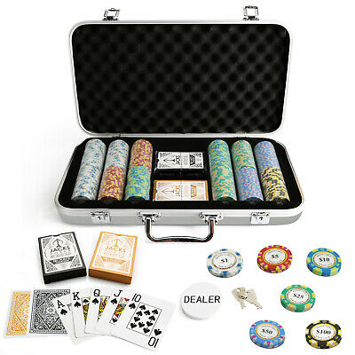 300 Chips Monte Carlo Poker Set Silver Case Plastic Cards Casino Any Combo New