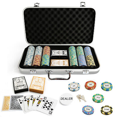 300 Chips Poker Set Silver Aluminium Case Monte Carlo 14g Chips Plastic Cards