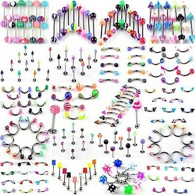 Lot De 100 Piercing Mix + 5 Gratis Langue Arcade Nombril Labret Neuf Envoi/24H
