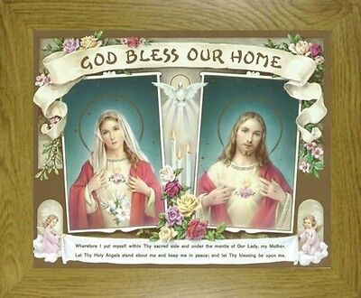 God Bless Our Home Sacred Heart Of Jesus And Mary Picture - French Oak Mdf Frame
