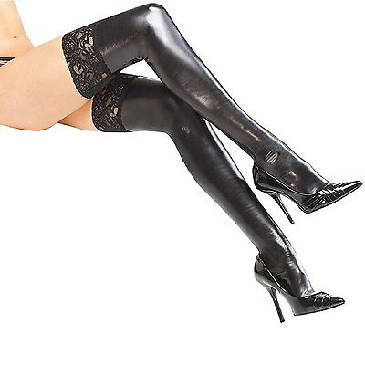 Lacetop Stockings PU Leather Stockings PVC Shine Black Stockings Mistress