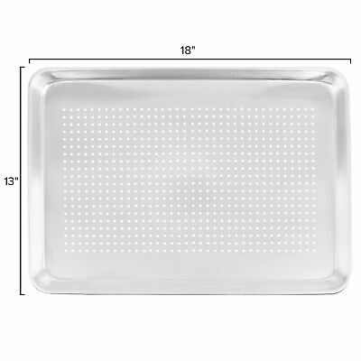 "12-Pack Choice 18"" x 13"" Perforated Half Size Aluminum Sheet Pans"