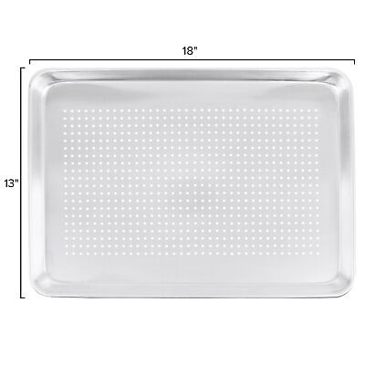 "(6-Pack) 18"" x 13"" Perforated 1/2 Size Aluminum Baking Sheet Pans Wire In Rim"