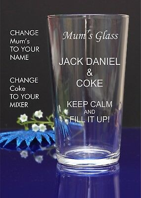 Personalised Engraved Pint mixer spirit JACK DANIEL AND COKE glass by jevge
