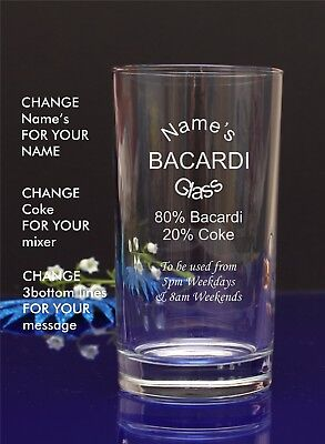 Engraved/Personalised Hiball MUM'S BACARDI GLASS Gift For Christmas/Nan/by jevge