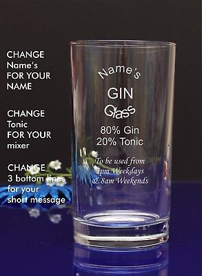 Engraved/Personalised Hiball MUM'S GIN AND TONIC GLASS Gift For Christmas/Nan15