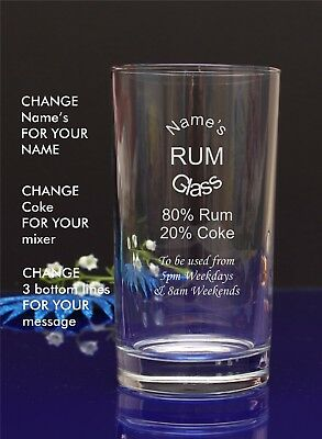 Engraved/Personalised Hiball MUM'S RUM AND COKE GLASS Gift For Christmas/11