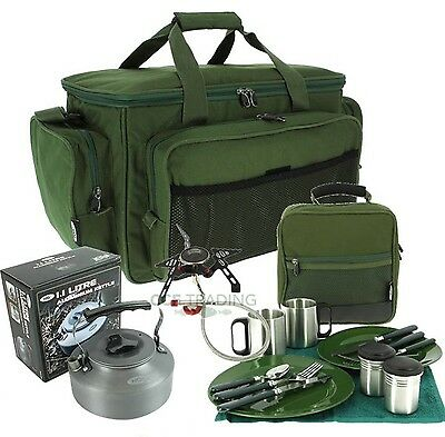 Gas Stove & Kettle + Deluxe Cutlery Mug Set Insulated Carryall Carp Fishing NGT